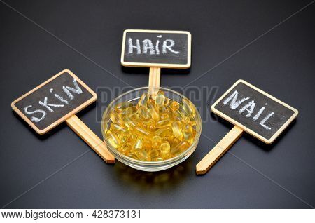Omega 3 Capsules And Lettering Skin, Hair, Nail