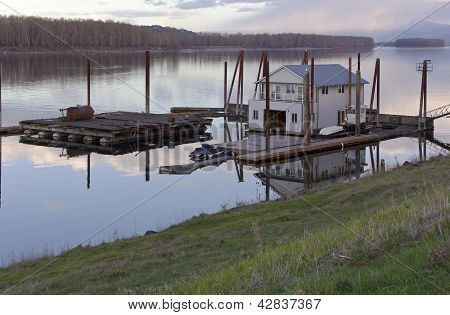 Floating house on the Columbia River Portland Oregon. poster