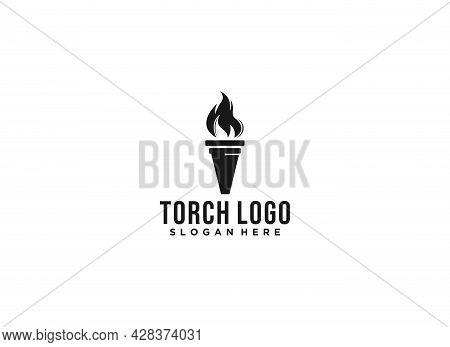 Torch Logo In White Background, Torch Logo In White Background