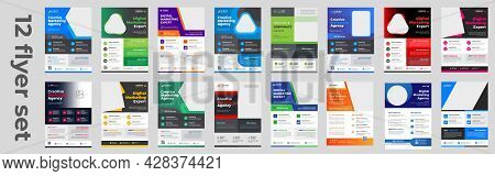 Corporate Business Flyer Template Design Set With Blue, Yellow, Pink And Green Color. Digital Market