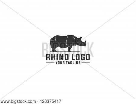 Rhino Logo Template Vector In White Background