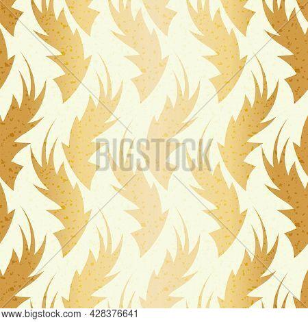 Gold Foil Hand Drawn Flame Shape Leaf Seamless Pattern. Golden White Blended Vector Foliage Backgrou