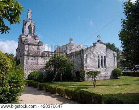La Toja, Spain - July 24, 2021: Ermida De San Campio E San Sebastian Shrine Covered With Scallop She