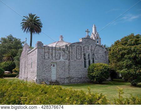 La Toja, Spain - July 24, 2021: Ermida De San Campio E San Sebastian Shrine Covered With Seashells A