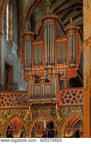 Strasbourg, France, June 24, 2021 : Organ Of Saint-pierre-le-jeune Protestant Church. Built In 1762