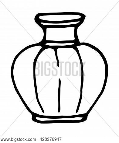 Stripes. Vector Set Of Empty Vases. A Collection Of Vases, Jugs Of Various Shapes, Hand-drawn In Doo