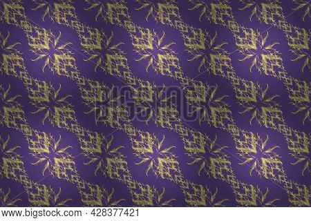 Raster Golden Textile Print. Pattern Oriental Ornament. Golden Pattern On Yellow, Violet And Neutral