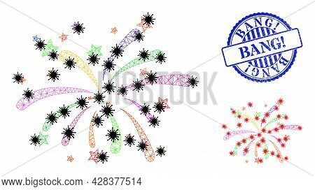 Mesh Polygonal Fireworks Symbols Illustration In Outbreak Style, And Textured Blue Round Bang Exclam