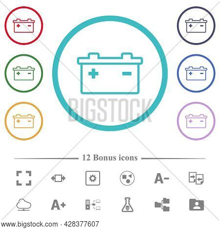Accumulator Outline Flat Color Icons In Circle Shape Outlines. 12 Bonus Icons Included.