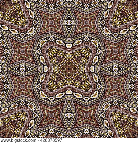 Spanish Repeating Pattern Graphic Design. Boho Geometric Background. Fabric Print In Ethnic Style.