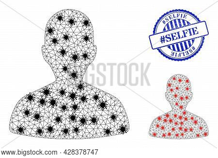 Mesh Polygonal Person Profile Icons Illustration With Outbreak Style, And Distress Blue Round Hashta