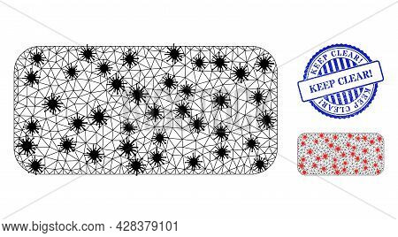 Mesh Polygonal Rounded Rectangle Symbols Illustration In Infection Style, And Distress Blue Round Ke