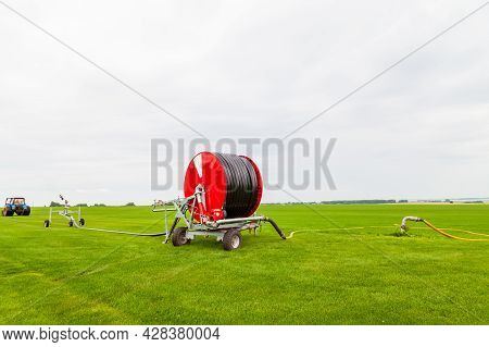 Watering A Vegetable Green Field With A Big Water Hose On The Red Bobbin And Sprinkler In Summer. Ag