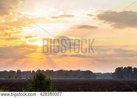 Panorama Of Golden Hour Orange Sky With Clouds And The Yellow Sun Shining Nature Background Sunrise