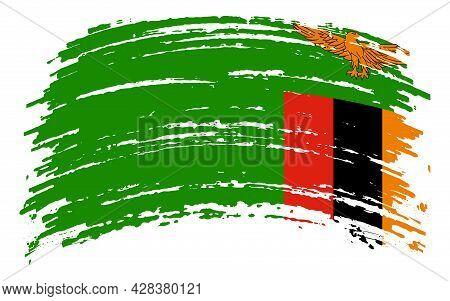 Zambia Flag In Grunge Brush Stroke, Vector