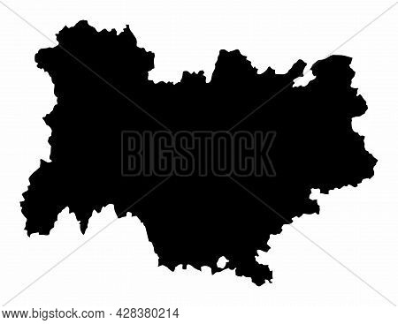 Auvergne-rhone-alpes Dark Silhouette Map Isolated On White Background, France