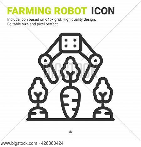 Farming Robot Icon Vector With Outline Style Isolated On White Background. Vector Illustration Robot