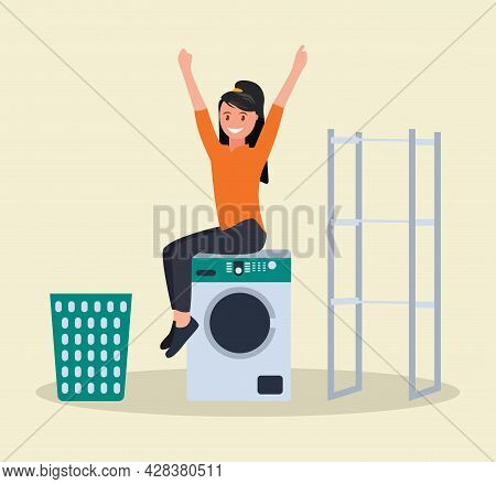 Advertising Of Washing Powder. A Woman With Washing Powder In Her Hands Near The Washing Machine. Ve