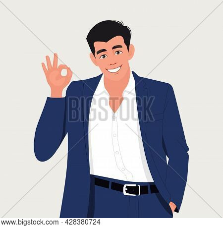 Man Is Showing A Gesture Okay, Ok. Vector Illustration In Cartoon Style