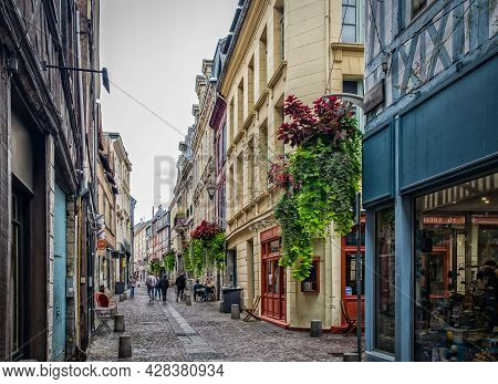"""Rouen, France, Oct 2020, view of """"Rue St Nicolas"""" a street in the old part of the city"""