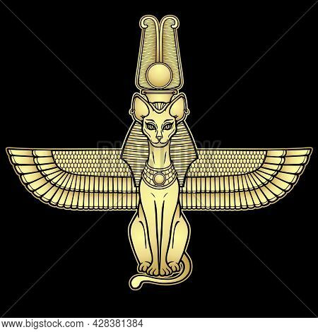 Animation Portrait Ancient Egyptian Goddess Bastet (bast). Sacred Winged Cat With A Divine Crown On