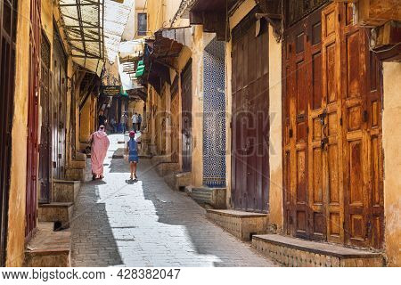 Fez, Morocco - June 02, 2017: View Of The Old Historic Streets In The Fez El Bali Medina. Is The Old