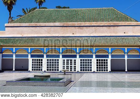 Marrakesh, Morocco - June 05, 2017: Courtyard In The The Bahia Palace. Is A Late 19th Century Palace