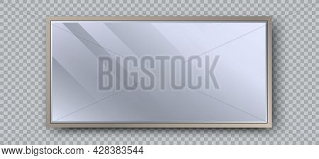 Realistic Rectangle Mirror With Reflection On Glass. Geometrical Mirror With Rectangle Frame Shape.