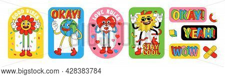 Funny Cartoon Characters. Sticker Pack, Posters, Prints In Trendy Retro Cartoon Style.