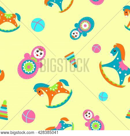 Seamless Children's Pattern With Rocking Horses, Tumbler Dolls And Balls On A Yellow Background