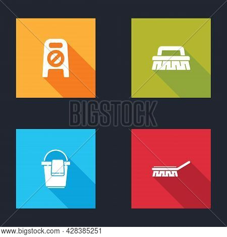 Set Wet Floor And Cleaning In Progress, Brush For, Bucket With Rag And Icon. Vector