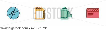 Set Cd Or Dvd Disk, Sd Card, Camera Film Roll Cartridge And Movie Clapper Icon. Vector