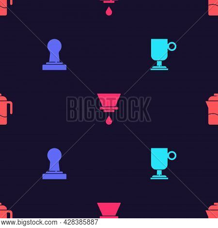 Set Irish Coffee, Coffee Tamper, V60 Maker And French Press On Seamless Pattern. Vector
