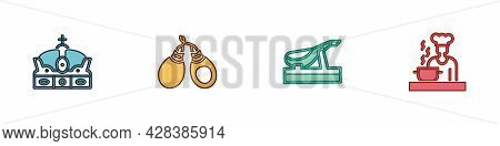 Set Crown Of Spain, Castanets, Spanish Jamon And Cook Icon. Vector