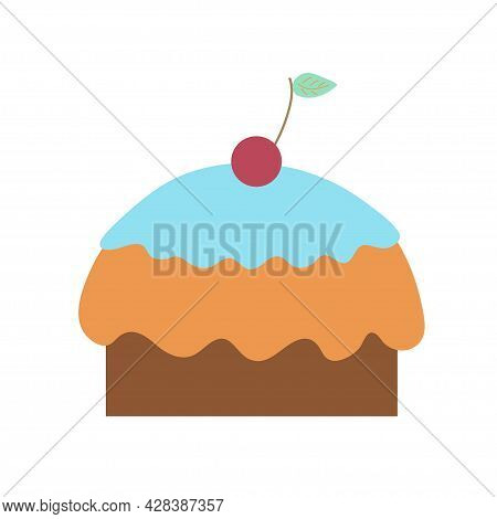 Delicious Cupcake With Blue Icing And Cherry On An Isolated Background. Tea Time. Dessert. Design El