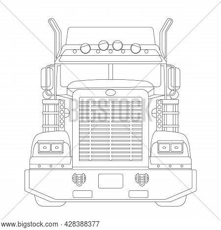Semi Truck, Front View, Vector Illustration, Black Lining, Coloring