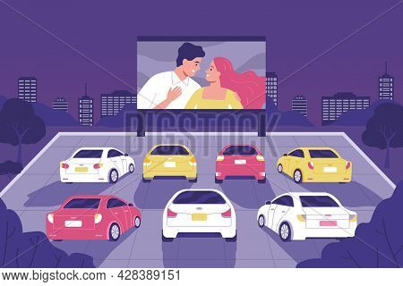 People Sit In Cars And Watch Movies In An Open Air Cinema Flat Vector Illustration