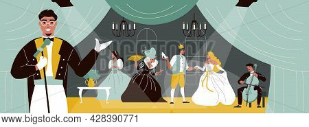 Theatre Scene With Actors Acting In Play And Smiling Man With Microphone In Foreground Flat Vector I