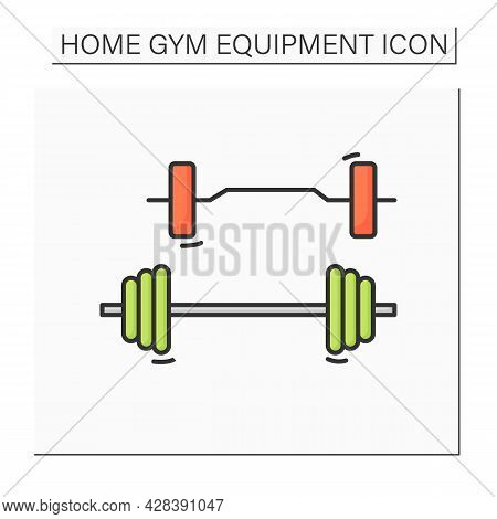 Barbell Set Color Icon. Home Gym Adjustable Weight Barbells. Concept Of Power Training, Weightliftin