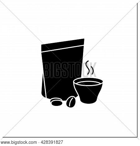 Coffee In Bags Glyph Icon. Individual Package. Portion Control, Protection, Tampering Resistance Fro