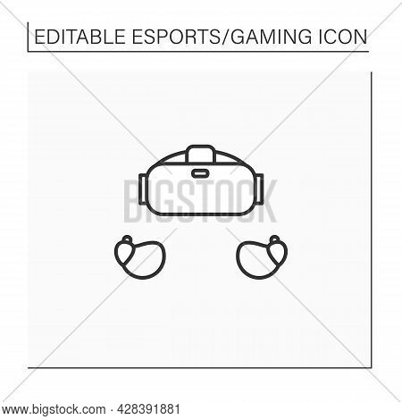 Gaming Accessory Line Icon. Wireless Headphones. Technical Equipment For Playing Game. Cybersport Co