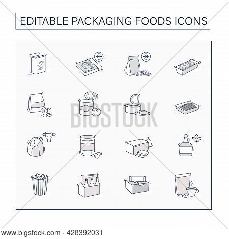 Packing Foods Line Icons Set. Difference In Food Packing.portion Control, Individual Boxes. Protecti