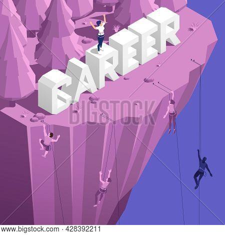 Mountain Climbing Attitude Dedication Perseverance As Successful Career Metaphor Isometric Compositi