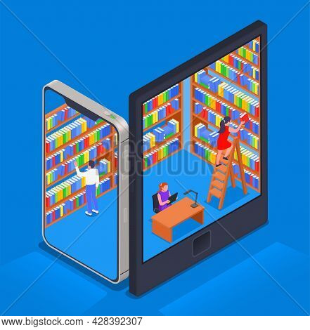 Digital Online Library Isometric Colored Composition Abstract Library With Bookshelves And Visitors