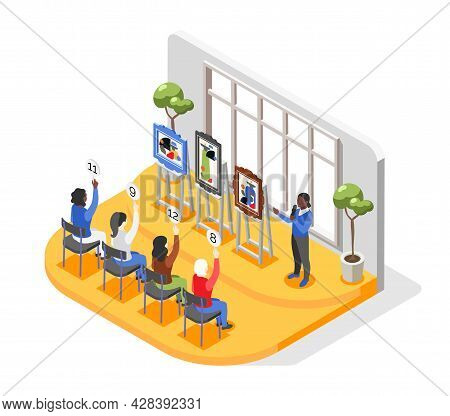 Auction Isometric Composition With View Of Museum And Row Of Paintings For Sale With Bidder Characte