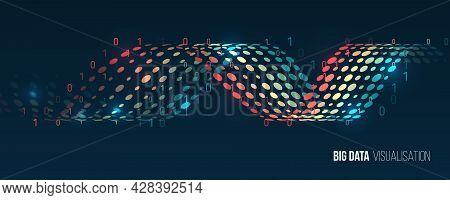 Machine Learning Algorithm. Waves Twisted Array Visual Concept. Big Data Visualization Algorithms. C