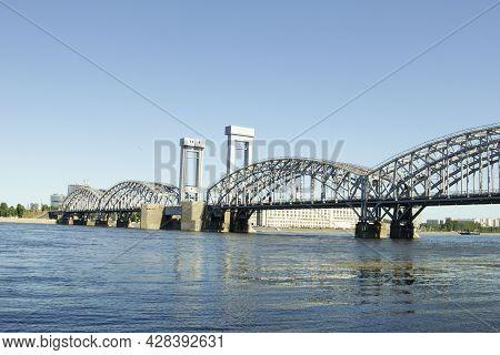 Finland Railway Bridge Over The Neva River In St. Petersburg, Russia. July, 2021.
