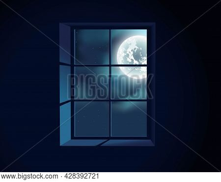 Full Moon. Window View. Moonlight. Twilight. Full Moon. Window View. Moonlight. Twilight.