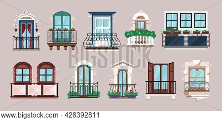Horizontal Set Of Single And Double Balconies Of Classical Architecture Flat Vector Illustration