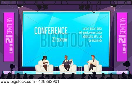 Conference Hall Background With Expo Presentation Symbols Flat Vector Illustration